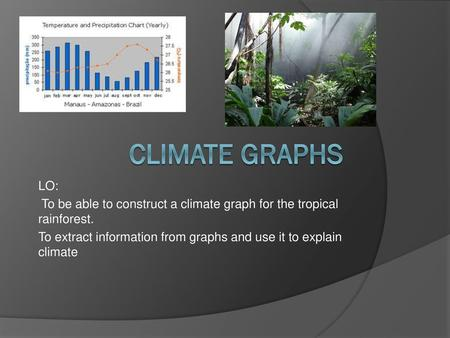 Climate graphs LO: To be able to construct a climate graph for the tropical rainforest. To extract information from graphs and use it to explain climate.