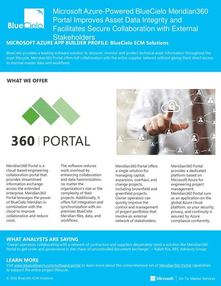 Microsoft Azure-Powered BlueCielo Meridian360 Portal Improves Asset Data Integrity and Facilitates Secure Collaboration with External Stakeholders MICROSOFT.