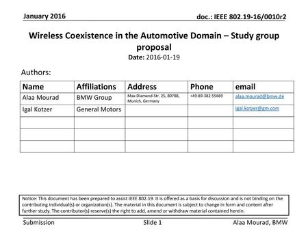 Wireless Coexistence in the Automotive Domain – Study group proposal