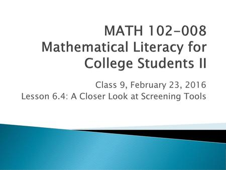 MATH Mathematical Literacy for College Students II