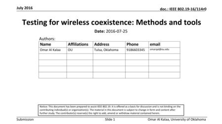 Testing for wireless coexistence: Methods and tools