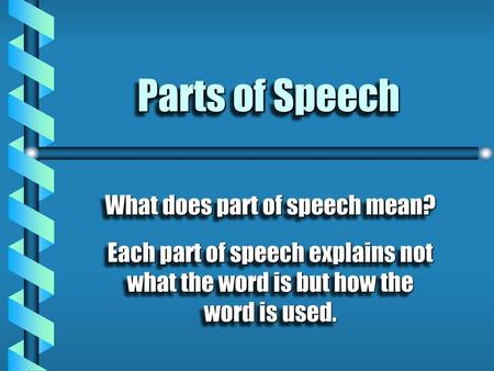 What does part of speech mean?