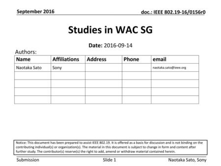 Studies in WAC SG Date: Authors: September 2016
