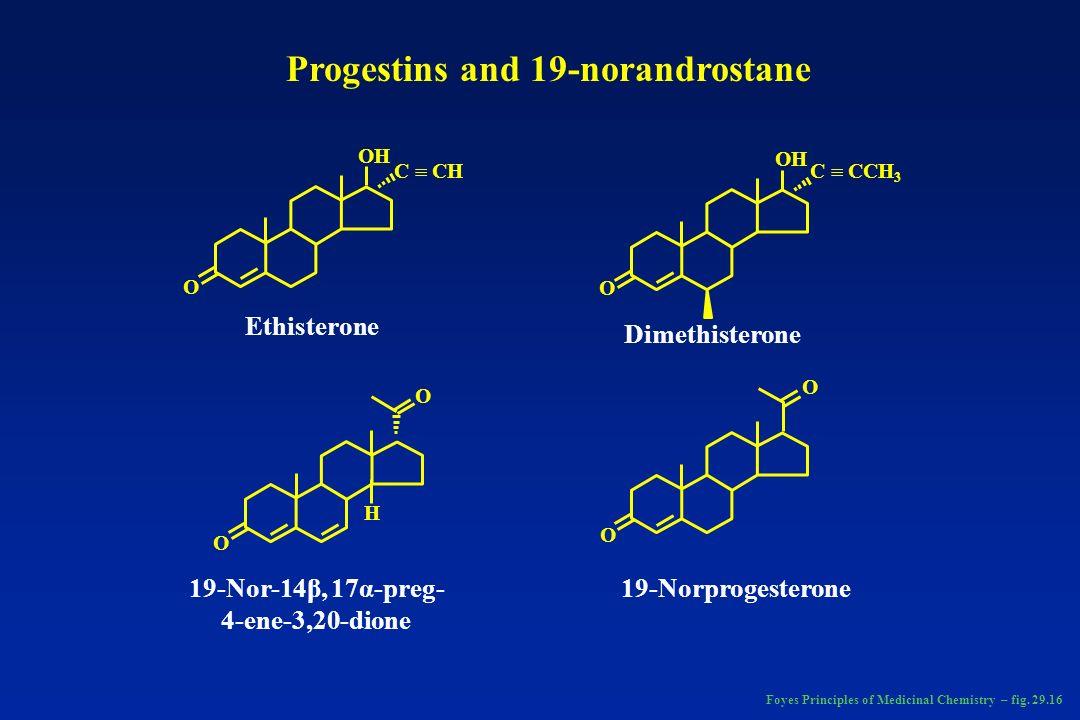 H 3 C-C-O O O O C-CH 3 CCH O OO O O O OH CCH O C-CH 3 HO N 3-Ketodesogestrel (etonogestrel)Ethynodiol diacetate DesogestrelNorgestimateNorgestrel Norethindrone NorethynodrelNorethisterone Foyes Principles of Medicinal Chemistry – fig.