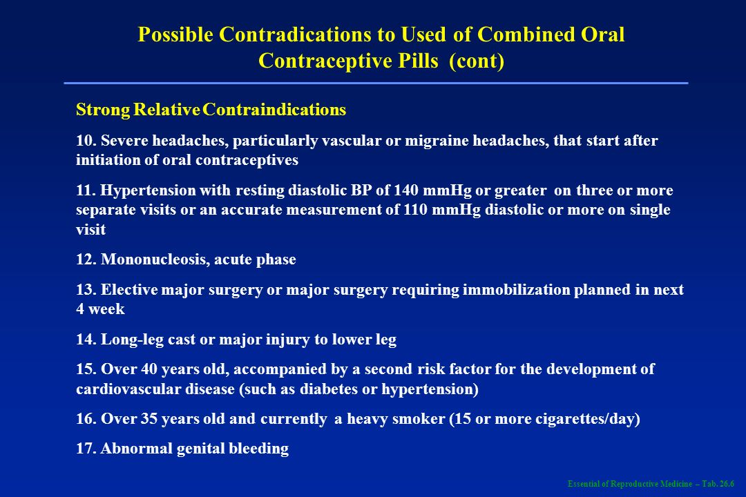 Possible Contradications to Used of Combined Oral Contraceptive Pills (cont) Other Considerations Diabetes, prediabetes, or a strong family history of diabetes Sickle cell disease or sickle C disease Active gallbladder disease Congenital hyperbilirubinemia (Gilberts disease) Undiagnosed abnormal genital bleeding Over 50 years old Completion of term pregnancy within past 10 to 14 days Weight gain of 10 lb or more while on the pill Cardiac renal disease (or history thereof) Conditions likely to make patient unreliable at following pill instructions (mental retardation, major psychiatric illness, alcoholism, or other chemical abuse, history of repeatedly taking oral contraceptives or other medication incorrectly) Lactation Family history of death of a parent or sibling due to myocardial infarction before age 50; myocardial infarction in a mother or sister is especially significant and indicates a need for lipid evaluation Family history of hyperlipidemia Essential of Reproductive Medicine – Tab.