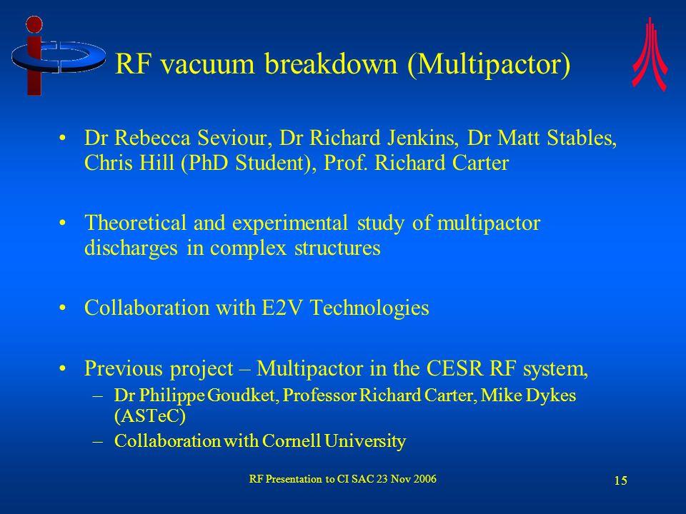 RF Presentation to CI SAC 23 Nov 2006 16 Multipactor – Experimental Work Chris Hill (PhD Student) Prof Richard Carter Multipactor in a klystron input cavity