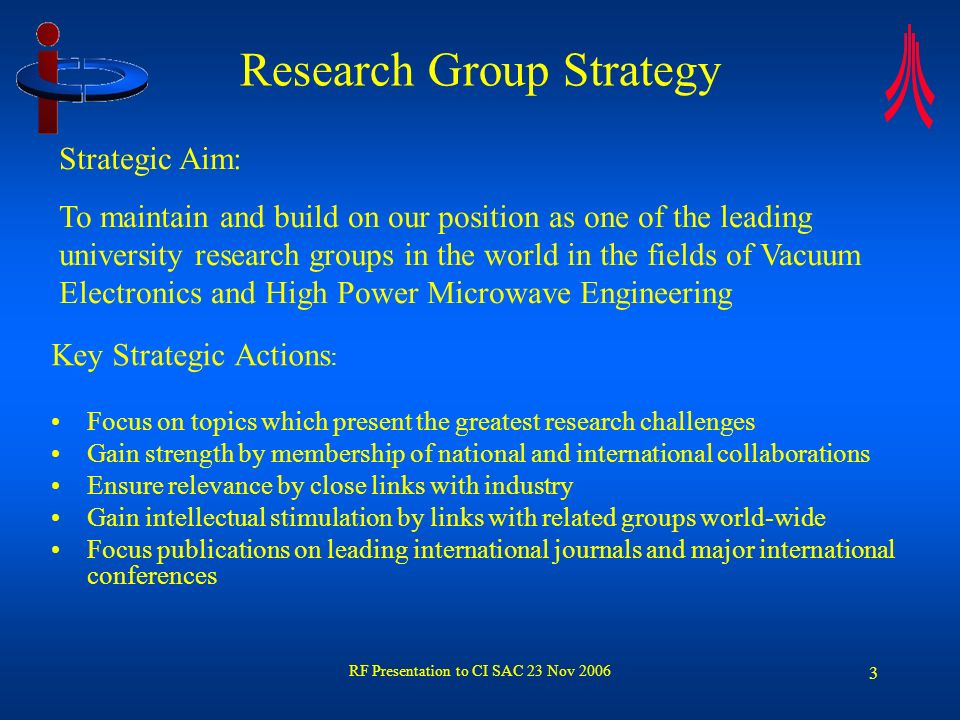 RF Presentation to CI SAC 23 Nov 2006 4 Staff Academic staff –Prof.