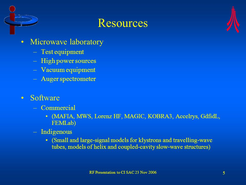 RF Presentation to CI SAC 23 Nov 2006 6 Current research projects Microwave tubes –Stabilisation of c.w.