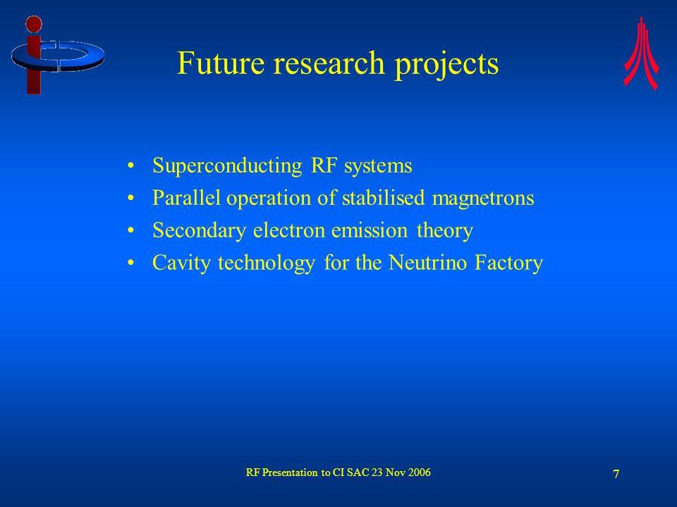 RF Presentation to CI SAC 23 Nov 2006 8 Stabilisation of c.w.