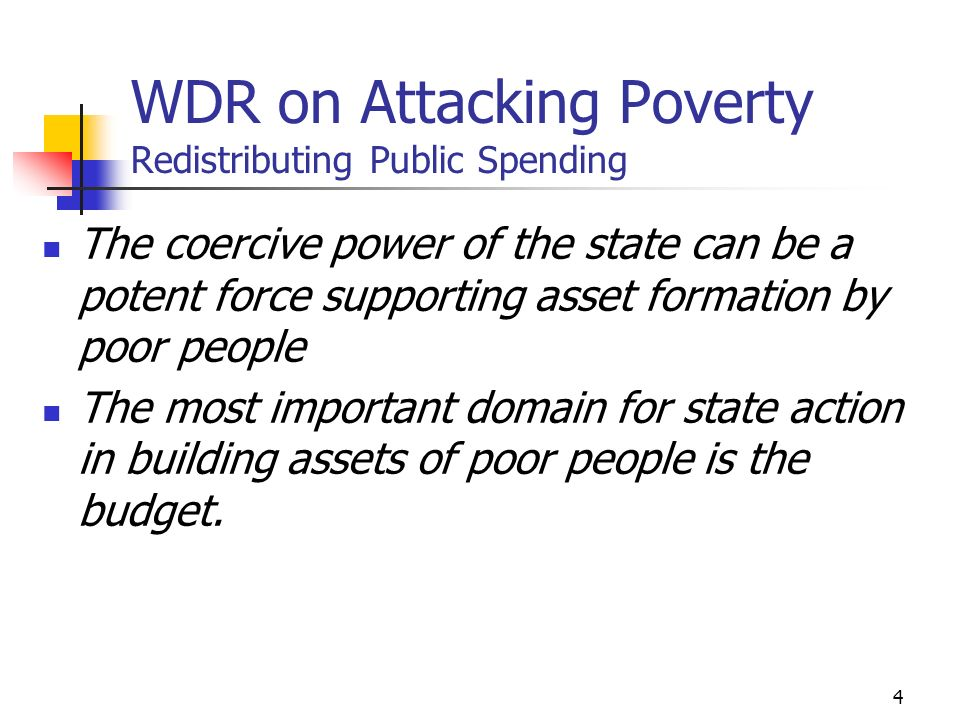 5 Features of the current pro-poor emphasis Poverty reduction as a primary development policy goal Increased efforts to identify specific policies and programs for reducing poverty Belief that public spending can be hardwired Virtual poverty funds Earmarked funds