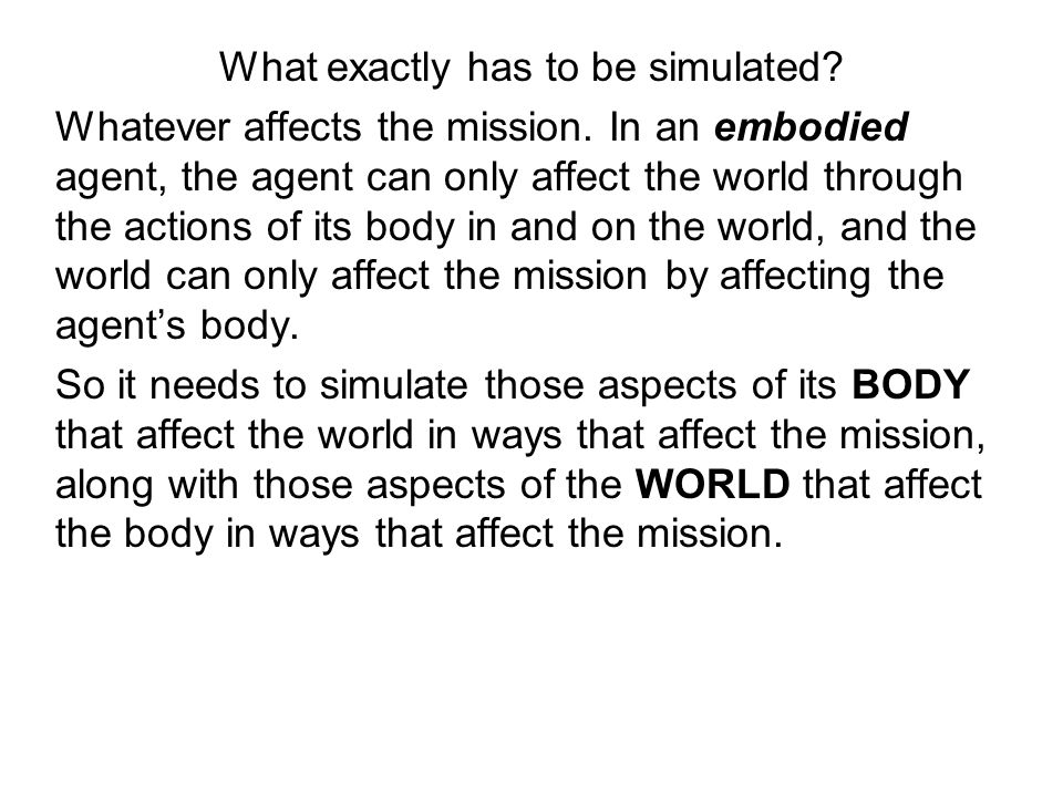 What exactly has to be simulated.