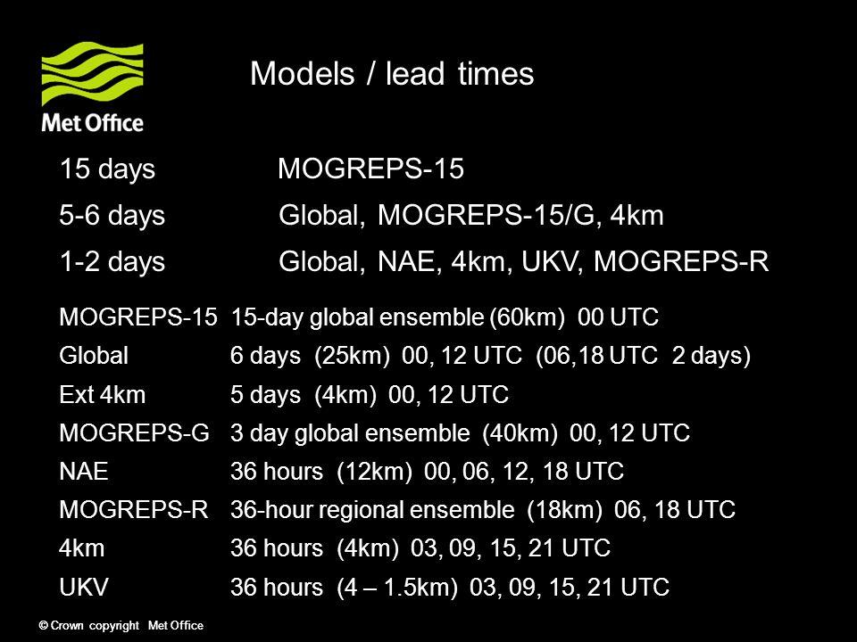 © Crown copyright Met Office Models / lead times 15 days MOGREPS-15 5-6 days Global, MOGREPS-15/G, 4km 0-2 days Global, NAE, 4km, UKV, MOGREPS-R MOGREPS-1515-day global ensemble (60km) 00 UTC Global6 days (25km) 00, 12 UTC (06,18 UTC 2 days) Ext 4km5 days (4km) 00, 12 UTC MOGREPS-G3 day global ensemble (40km) 00, 12 UTC NAE36 hours (12km) 00, 06, 12, 18 UTC MOGREPS-R36-hour regional ensemble (18km) 06, 18 UTC 4km36 hours (4km) 03, 09, 15, 21 UTC UKV36 hours (4 – 1.5km) 03, 09, 15, 21 UTC