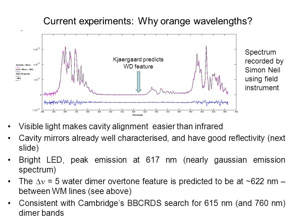Current experiments: Why orange wavelengths.