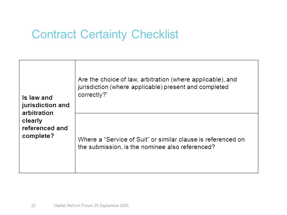 Market Reform Forum 29 September 200523 Contract Certainty Checklist Are all terms clear and unambiguous.