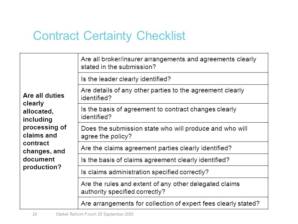 Market Reform Forum 29 September 200525 Contract Certainty Checklist Is any supporting information clearly referenced.