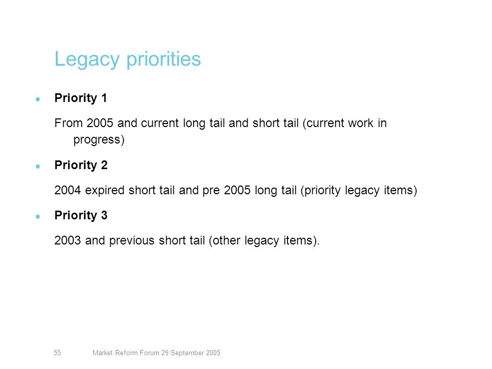 Market Reform Forum 29 September 200556 Kinnect – July slide Take up of 1 June release functionality for August incepting risks continues North American Property going well -Slips now being created -First sign down and completion to be this week Terrorism to start in August 17 customers live on platform and three in implementation Beginning to engage with International Property markets Next release due in two drops Q1 and Q2 06 Improved risk class delivery, including generic (data light) template Two way data transfer with underwriter response International Property delayed to Q1 (from Q4) to fit with this ITT for future supplier and review of platform development requirements