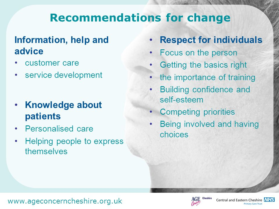 www.ageconcerncheshire.org.uk The relevance and importance of this work So that dignity is embedded in all implementation activity and the profile of dignity is raised,(Commissioning, next stage review, Ageing Strategy, Personalisation, Dementia Care, End of Life Care, Mental Health etc.) Capturing the authentic voice of older adults National Nursing Review of metrics and practice.