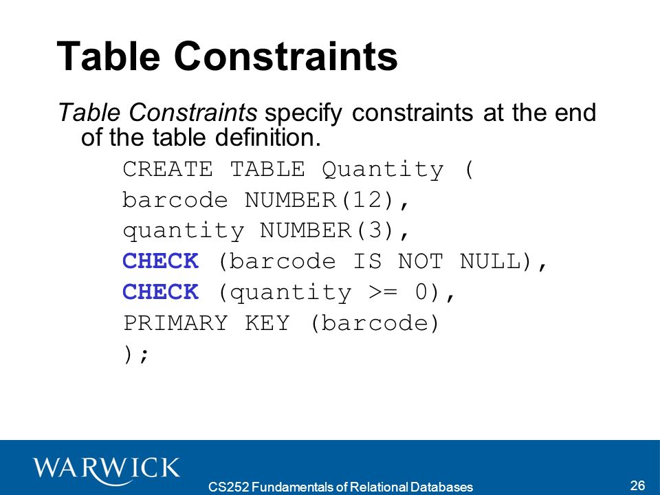 CS252 Fundamentals of Relational Databases 27 Specifying a Particular Table Within a Query Often tables have columns with the same name.