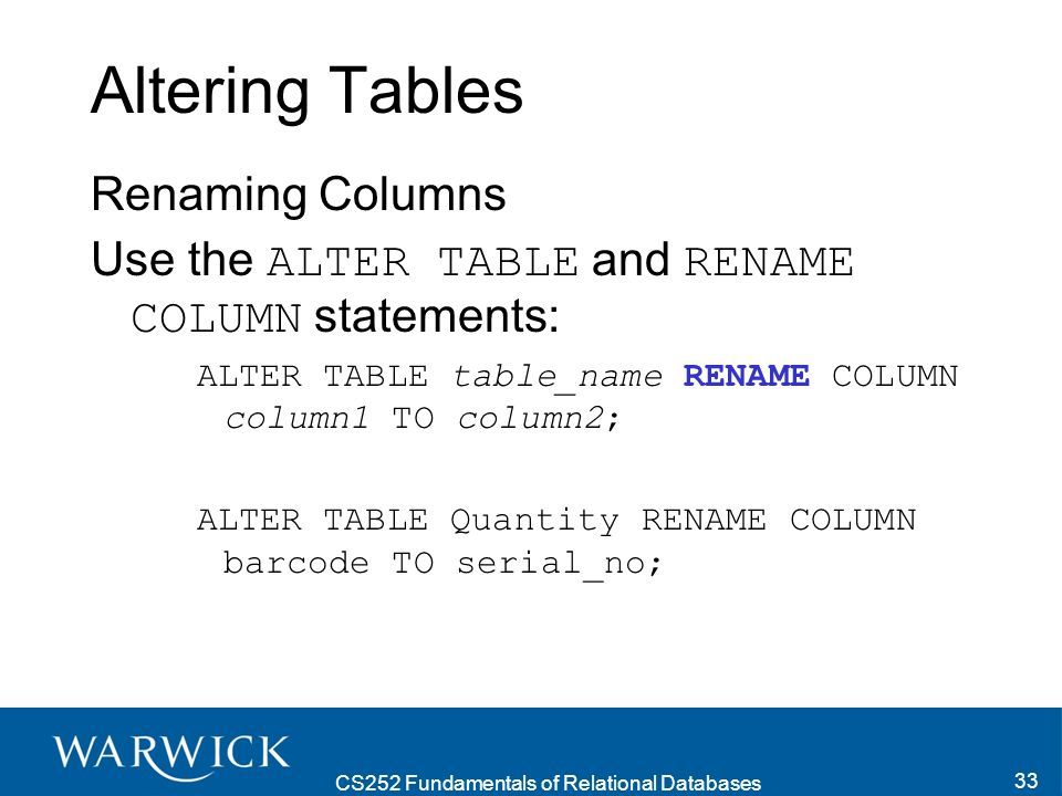 CS252 Fundamentals of Relational Databases 34 Rules for Table Alteration These are the rules for adding a column to a table: You may add a column at any time if NOT NULL is not specified.