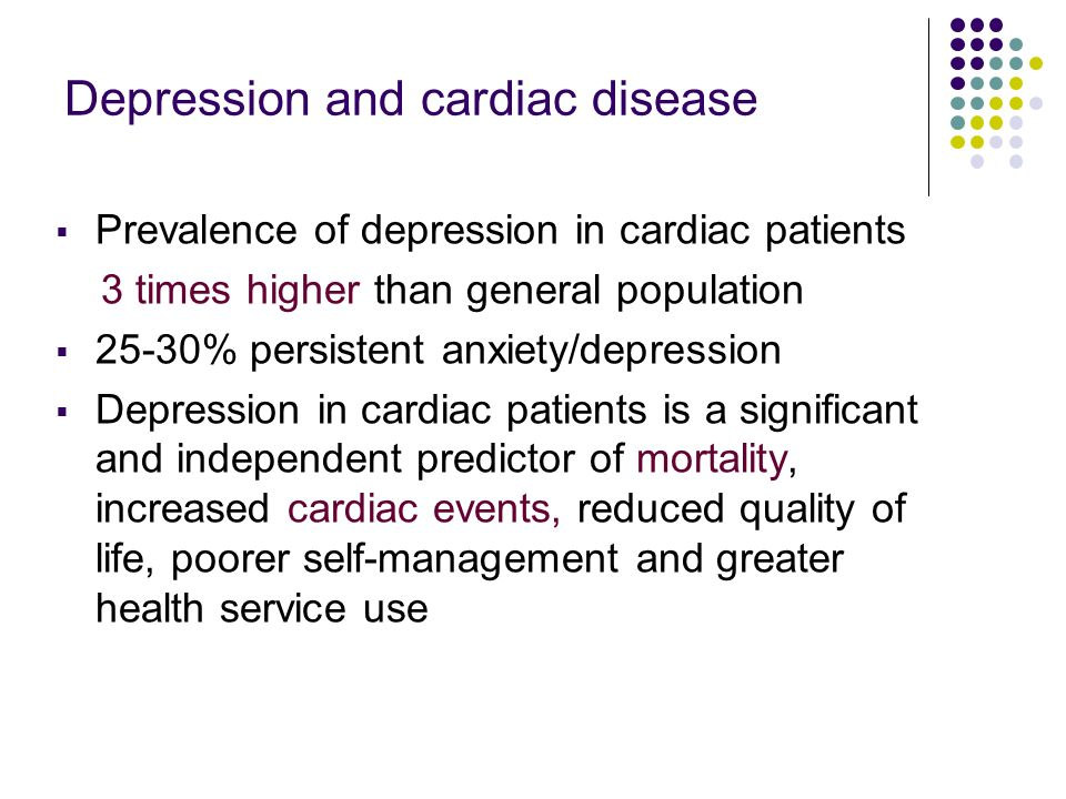 Depression: pathways to CHD Depression/ Anxiety (Stress) Health behaviours (e.g.