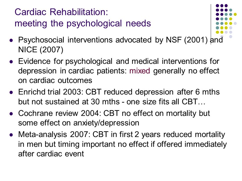 British Heart Foundation audit of UK CR 2009 4% reduction in anxiety/depression (HAD) following CR 33% of UK CR programmes have some psychology 3% included psychological interventions