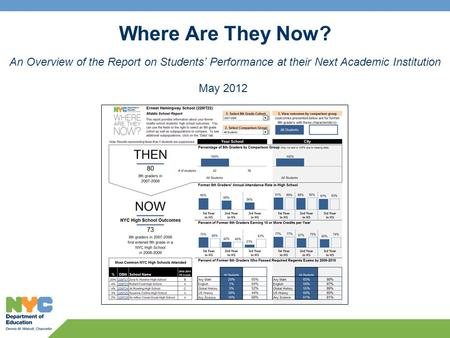 Where Are They Now? An Overview of the Report on Students' Performance at their Next Academic Institution May 2012.
