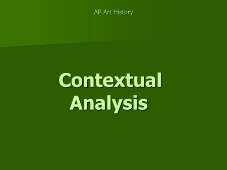 contextual essay art