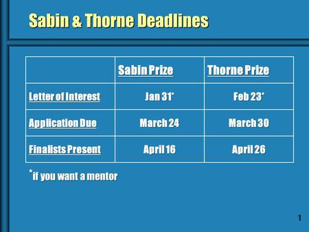 1 Sabin & Thorne Deadlines Sabin Prize Thorne Prize Letter of Interest Jan 31* Feb 23* Application Due March 24 March 30 Finalists Present April 16 April.