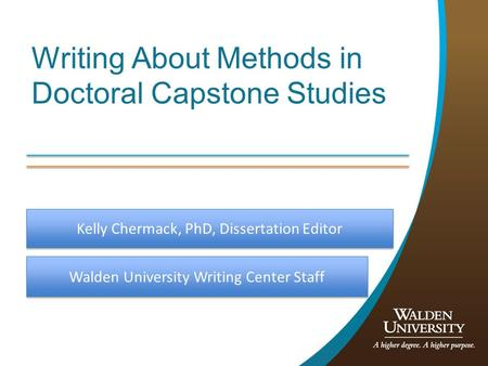 Writing About <strong>Methods</strong> in Doctoral Capstone Studies