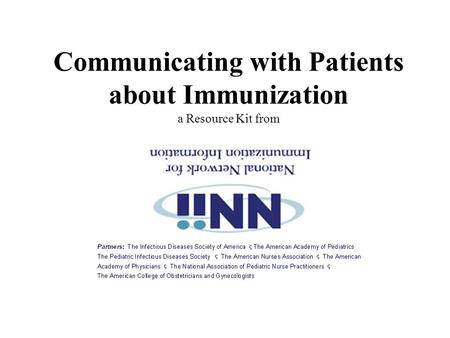 Communicating with Patients about Immunization a Resource Kit from.