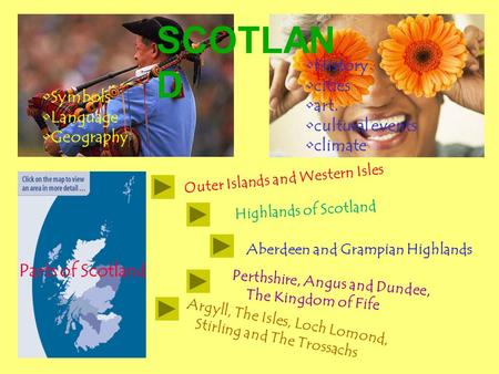 Symbols Language Geography History cities art. cultural events climate Perthshire, Angus and Dundee, The Kingdom of Fife Argyll, The Isles, Loch Lomond,