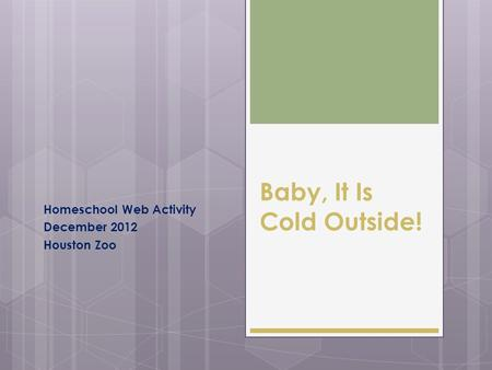 Baby, It Is Cold Outside! Homeschool Web Activity December 2012 Houston Zoo.