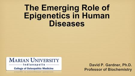 The Emerging Role of Epigenetics in Human Diseases David P. Gardner, Ph.D. Professor of Biochemistry.