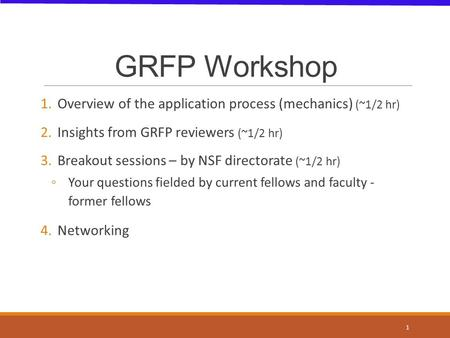 GRFP Workshop 1.Overview of the application process (mechanics) (~1/2 hr) 2.Insights from GRFP reviewers (~1/2 hr) 3.Breakout sessions – by NSF directorate.