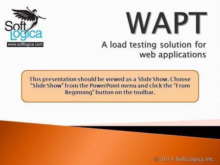 "A load testing solution for web applications This presentation should be viewed as a Slide Show. Choose ""Slide Show"" from the PowerPoint menu and click."