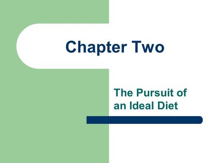 Chapter Two The Pursuit of an Ideal Diet. I. The ABC's of Eating for Health A. Characteristics of a good diet plan (ABCMV) 1. Adequacy: Provides all of.