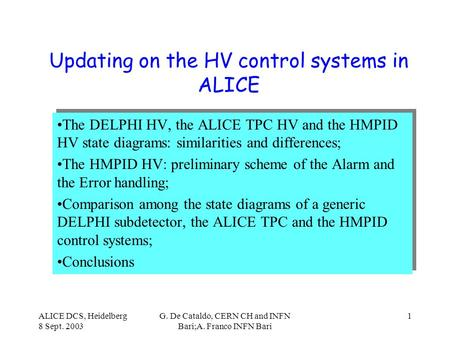 ALICE DCS, Heidelberg 8 Sept. 2003 G. De Cataldo, CERN CH and INFN Bari;A. Franco INFN Bari 1 Updating on the HV control systems in ALICE The DELPHI HV,
