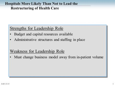 1CoE 8.18.10 Hospitals More Likely Than Not to Lead the Restructuring of Health Care Strengths for Leadership Role Budget and capital resources available.