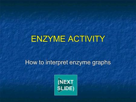 ENZYME ACTIVITY How to interpret enzyme graphs (NEXT SLIDE)