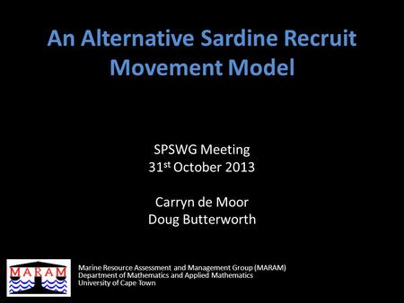 An Alternative Sardine Recruit Movement Model