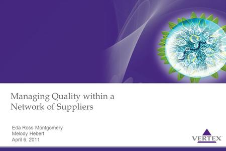 Managing Quality within a Network of Suppliers Eda Ross Montgomery Melody Hebert April 6, 2011.