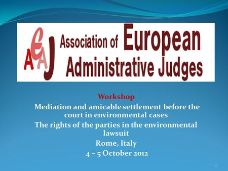 Workshop Mediation and amicable settlement before the court in environmental cases The rights of the parties in the environmental lawsuit Rome, Italy 4.