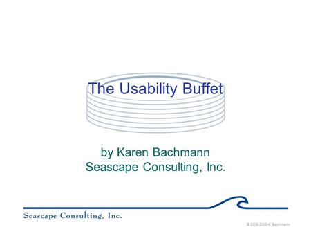© 2006-2009 K. Bachmann The Usability Buffet by Karen Bachmann Seascape Consulting, Inc.