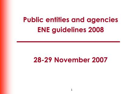 1 Public entities and agencies ENE guidelines 2008 28-29 November 2007.