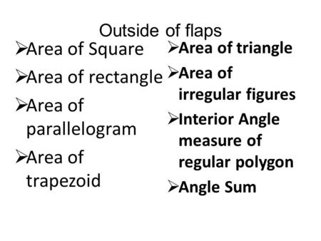 Outside of flaps  Area of Square  Area of rectangle  Area of parallelogram  Area of trapezoid  Area of triangle  Area of irregular figures  Interior.