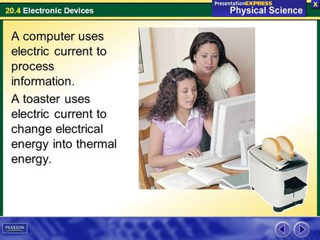 20.4 Electronic Devices A computer uses electric current to process information. A toaster uses electric current to change electrical energy into thermal.
