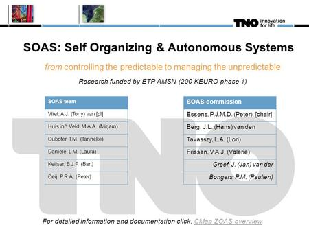 SOAS: Self Organizing & Autonomous Systems from controlling the predictable to managing the unpredictable Research funded by ETP AMSN (200 KEURO phase.