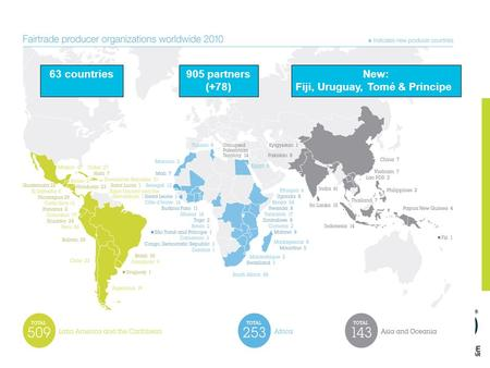 63 countries905 partners (+78) New: Fiji, Uruguay, Tomé & Principe.