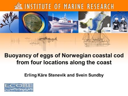 1 1 Buoyancy of eggs of Norwegian coastal cod from four locations along the coast Erling Kåre Stenevik and Svein Sundby.