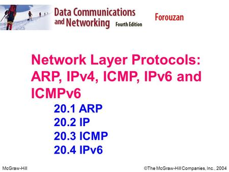 McGraw-Hill©The McGraw-Hill Companies, Inc., 2004 Network Layer Protocols: ARP, IPv4, ICMP, IPv6 and ICMPv6 20.1 ARP 20.2 IP 20.3 ICMP 20.4 IPv6.